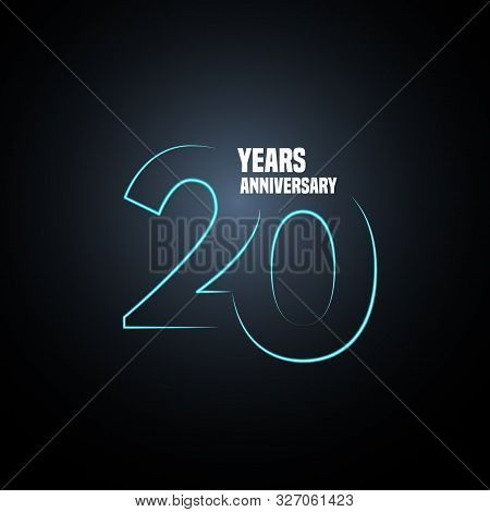 20 Years Anniversary Vector Logo, Icon. Graphic Design Element With Neon Number