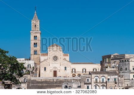 Matera, South Italy, Basilicata, Cathedral Church On Piazza Duomo In Historical Centre Sasso Caveoso