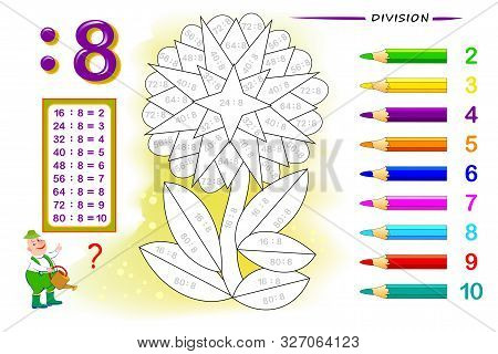 Division By Number 8. Math Exercises For Kids. Paint The Picture. Educational Page For Mathematics B