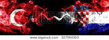Turkey Vs Croatia, Croatian Smoke Flags Placed Side By Side. Thick Colored Silky Smoke Flags Of Turk