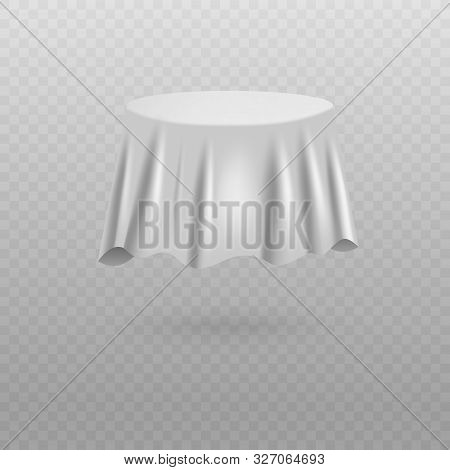 Plain White Fabric Sheet Covering Round Table Shaped Object Floating In Air