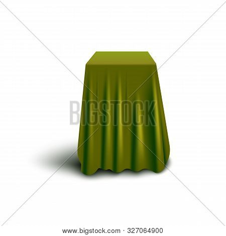 Dark Green Fabric Covering Cube Shaped Tall Object - Isolated Curtain Cover
