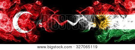 Turkey Vs Kurdistan, Kurdish Smoke Flags Placed Side By Side. Thick Colored Silky Smoke Flags Of Tur