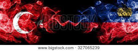 Turkey Vs Liechtenstein, Liechtensteins Smoke Flags Placed Side By Side. Thick Colored Silky Smoke F