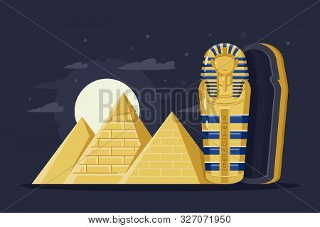 Flat Night Ancient Egypt With Pyramids, Moon And Pharaoh S Sarcophagus. Concept Trip, Mysterious Ove