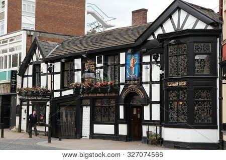 Bolton, Uk - April 23, 2013: Exterior View Of Ye Olde Man And Scythe Pub In Bolton. As Of 2011 There
