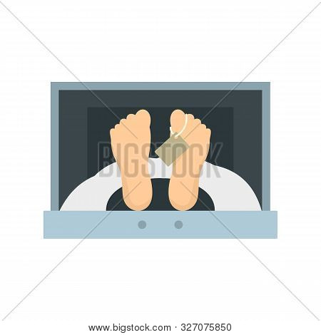 Corpse In Forensic Cell Icon. Flat Illustration Of Corpse In Forensic Cell Vector Icon For Web Desig