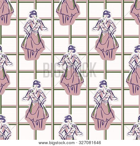 1950s Housewife Fashion Outfit Seamless Vector Pattern. Hand Drawn Loose Lineart Style Of Retro Fift