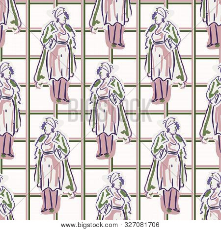 1950s Ladies Fashion Outfit Seamless Vector Pattern. Hand Drawn Loose Lineart Style Of Retro Fifties
