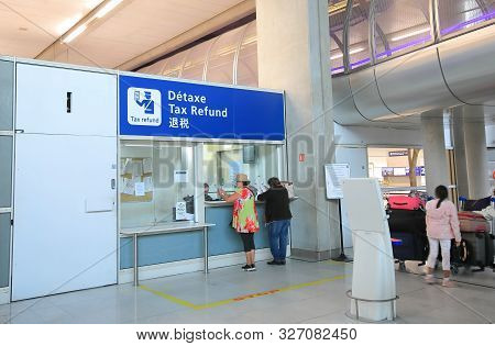 Paris France - June 19, 2019: Unidentified People Visit Tax Refund Office Charles De Gaulle Airport