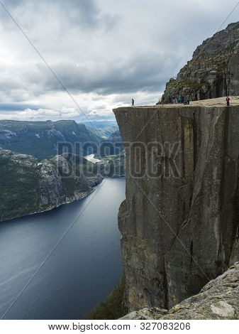 Profile View Of Famous Preikestolen Massive Cliff At Fjord Lysefjord, Famous Norway Viewpoint With G