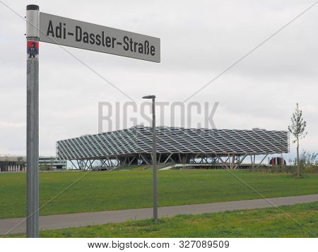 Herzogenaurach, Germany - August 19, 2019:  Street Sign And Building Called Arena, The New 2019 Open