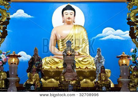 Buddha in Chinese style on the altar. poster