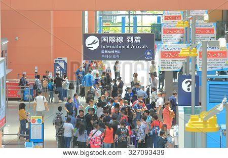 Osaka Japan - June 20, 2019: Unidentified People Travel At Arrival Hall Kansai Airport Osaka Japan
