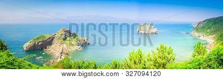 Panorama San Juan De Gaztelugatxe And Cantabrian Sea, Pais Vasco Spain, Toned