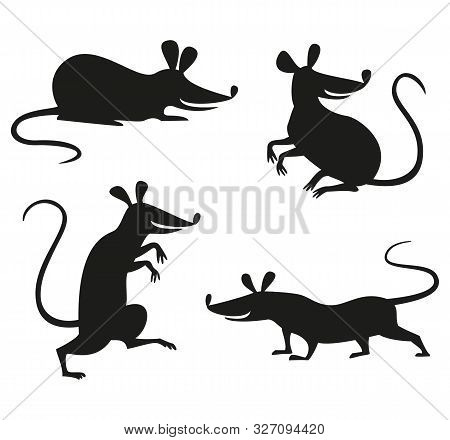 Set Of Silhouettes Of Rat Or Mouse. Vector Illustration.