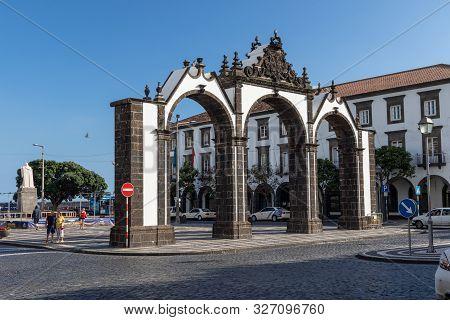 Ponta Delgada, Azores, Portugal - August 14, 2019:  View Of Portas Da Cidade (city Gates) - Historic