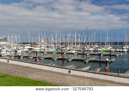 Ponta Delgada, Azores, Portugal - August 14, 2019:  View Of Yachts Moored In A Harbour In The Center