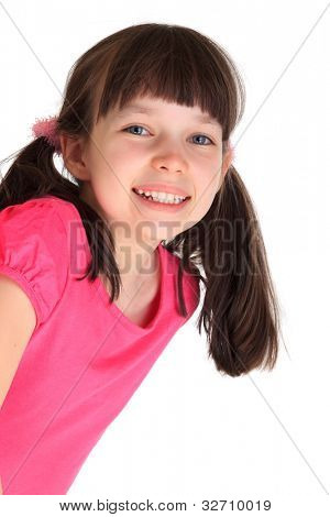 Happy young girl with pigtails