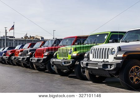 Kokomo - Circa September 2019: Jeep Wranglers On Display Next To The Chrysler Jeep Transmission Fact