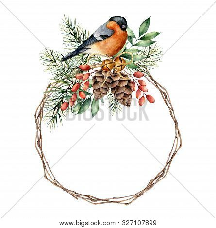 Watercolor Christmas Wreath With Bullfinch And Berries. Hand Painted Eucalyptus Leaves, Pine Cones,