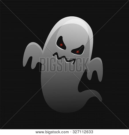 Scary White Ghost Design On Black Background. Halloween Celebration. Ghostly Monster With Scary Face