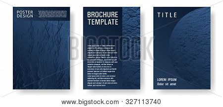 Brochure Layout Design Templates. Dark Blue And Black Waves Texture. Business Brochure Vector Cover