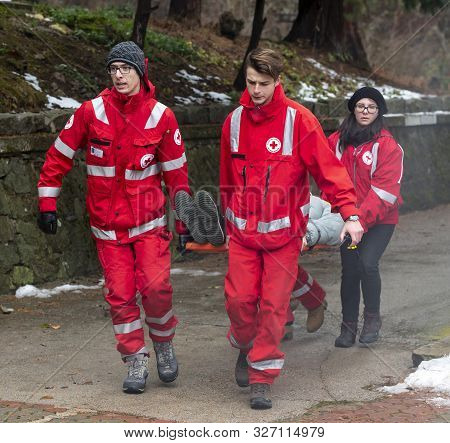 Sofia, Bulgaria - 5 December 2018: Volunteer Paramedics From Bulgarian Red Cross Youth Provide First
