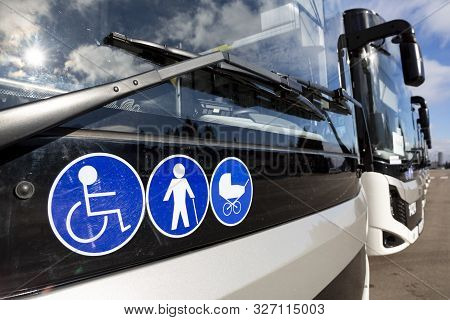 New Modern Busses On Lpg. International Symbol Of Access - Wheelchair Symbol (handicapped, Physicall