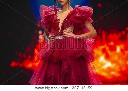 Sofia, Bulgaria - 18 September 2019: Female Model Walks The Runway In Beautiful Red Designer Dresses