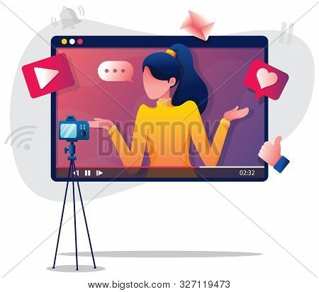 Flat Design Illustration With Female Vlogger Or Influencer, Recording New Video.