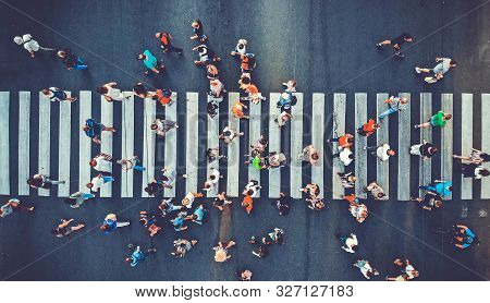 Aerial. People Crowd Motion Through The Pedestrian Crosswalk. Top View From Drone. Toned Image.
