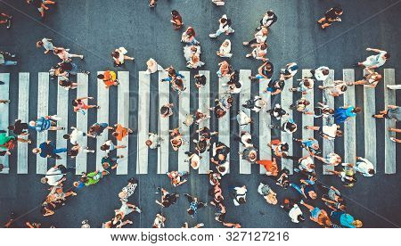 Aerial. People Crowd On Pedestrian Crosswalk. Top View Background. Toned Image.