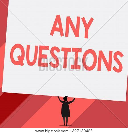 Conceptual hand writing showing Any Questions. Business photo showcasing Clueless Blank face Inquiry Disputes Probes Issues Riddles Short hair woman dress hands up holding blank rectangle. poster