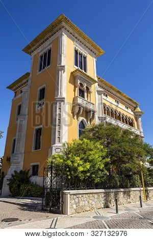 Cascais - August 14, 2019: Facade Of Lencastre House, A Palace Built In Early 20th Century In Eclect