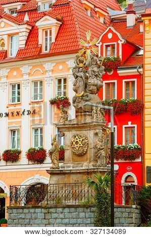 Karlovy Vary, Czech Republic - September 13, 2013: Column With The Sculpture Of The Holy Trinity