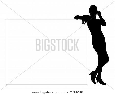 Attractive Young Woman Leaning On Blank Billboard For Your Text. Young Business Woman Leaned Against