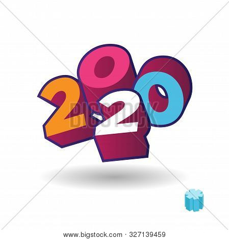 2020 Year 3d Text Plate Vector. Background For Banner, Sale, Ad, Card. Colorfull Trendy Illustration