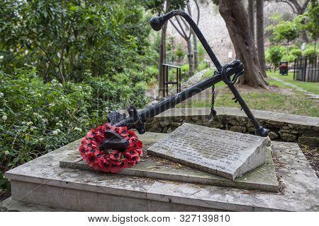 Gibraltar, Uk - July 27th 2019: Trafalgar Cemetery Of Gibraltar, Uk. Battle Of Trafalgar Monument Er