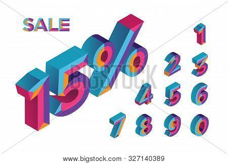 15% Sale. 0, 1, 2, 3, 4, 5, 6, 7, 8, 9 Isometric 3d Numeral Alphabet. Percent Off, Sale Background.