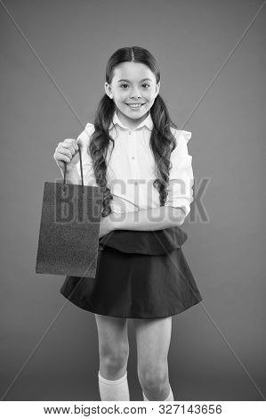 On Her Weekly Shopping. Adorable Shopper Or Shopping Addict On Orange Background. Little Girl Smilin