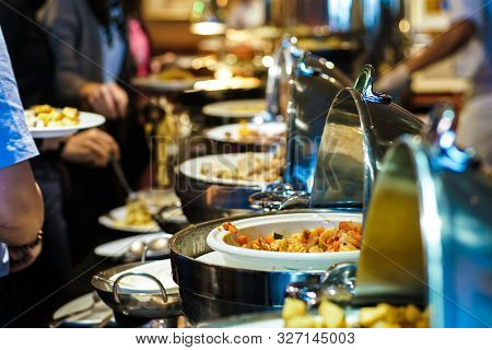 Lunch Food Buffet Catering Party With Hand Of People