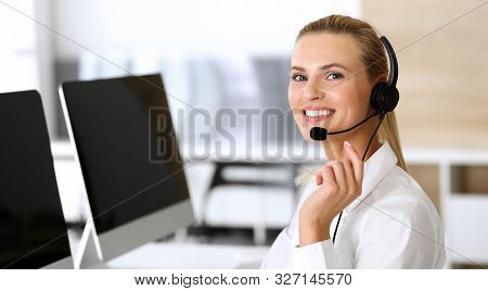 Call Center. Happy And Excited Business Woman Using Headset While Consulting Clients Online. Custome