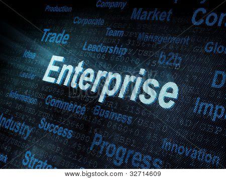 Pixeled Word Enterprise On Digital Screen