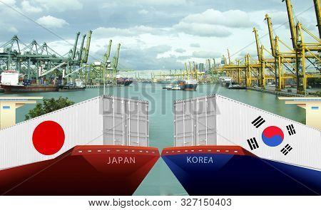 Concept Image Of Japan - South Korea Trade War, Japan Export Ban,boycott, Economy Conflict ,tensions