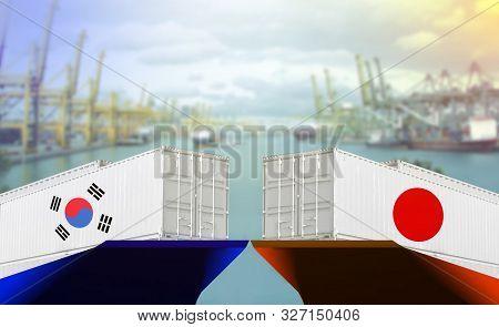 Concept Image Of Japan - South Korea Trade War, Japan Export Ban, Economy Conflict