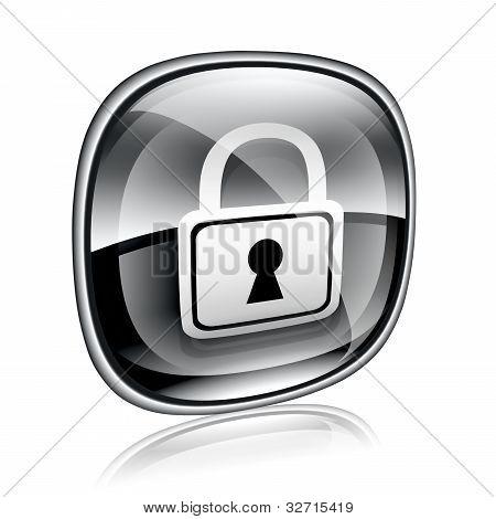 Lock Icon Black Glass, Isolated On White Background.