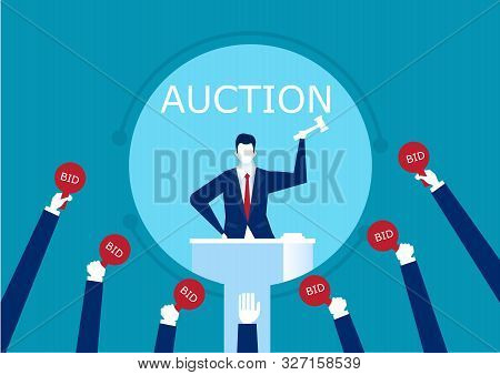 Vector Auctioneer Hold Gavel In Hand. Buyers Competitive Raising Arm Holding Bid Paddles With Number