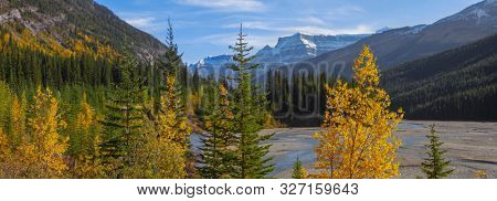 Panoramic view of Jasper national park landscape from Icefields parkway