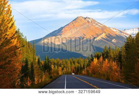 Scenic Icefields parkway in twilight at Jasper national park Canada,also seen Mount Edith Cavell